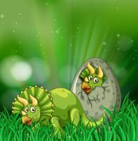 Triceratops kläckande ägg i skogen