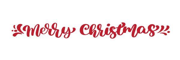 Kalligraphie-Beschriftungs-Vektortext der frohen Weihnachten roter. Für Kunstvorlagenentwurfslistenseite, Modellbroschürenart, Fahnenideenabdeckung, Broschürendruckflieger, Plakat