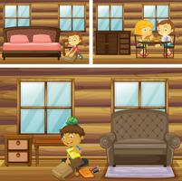 Kinder machen Dinge in verschiedenen Räumen