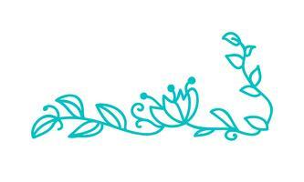 Türkis Monoline skandinavische Folk gedeihen mit Blättern und Blüten vektor