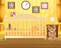 Szene des Schlafzimmers in gelb