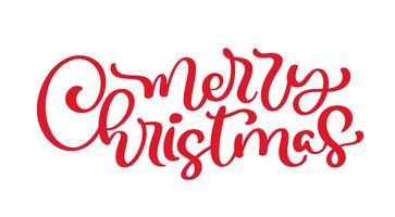 Kalligraphie-Beschriftungs-Vektortext der frohen Weihnachten roter. Lokalisierte Phrase für Kunstschablonenentwurfslistenseite, Modellbroschürenart, Netz, Grußkarte, Plakat
