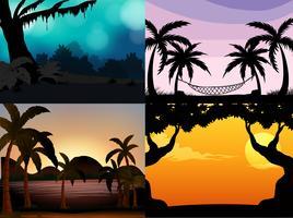 Fyra naturscener med siluettträd