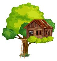 Gammalt trädhus av trä