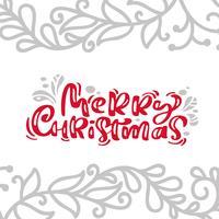 Weinlesekartenkalligraphie-Beschriftungs-Vektortext der frohen Weihnachten mit skandinavischem Flourishdekor der Winterzeichnung. Für Kunstdesign, Mockup-Broschürenstil, Bannerideenabdeckung, Broschürendruck-Flyer, Poster vektor