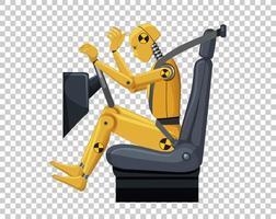 Crashtest-Dummy in einem Autositz auf Gitterhintergrund vektor