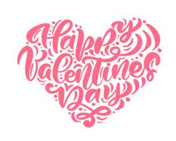 "Kalligraphiephrase ""Happy Valentine's Day"" in Herzform vektor"