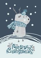 Weihnachtsskandinavische Vektorrotwild im Hut und im Schal mit Illustrationsdesign der frohen Weihnachten des Textes. Netter Bambi-Tiervektor. Frohe Weihnachten Grußkarte