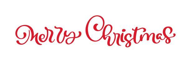 Kalligraphie-Beschriftungs-Vektortext der frohen Weihnachten roter. Lokalisierte Phrase für Kunstschablonenentwurfslistenseite, Modellbroschürenart, Netz, Grußkarte, Plakat vektor