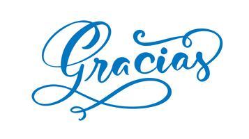 """""""Gracias"""" (""""Tack"""" på spanska) handskriven bokstäver"""