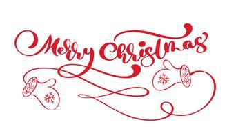 Kalligraphie-Beschriftungs-Vektortext der roten Weinlese der frohen Weihnachten mit skandinavischen Handschuhen der Winterzeichnung. Für künstlerisches Design, Mockup-Broschürenstil