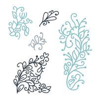 Swirly skandinaviska julgranskrull isolerad på vit bakgrund. Vektor monoline blomstra tappning för gratulationskort. Samling av filigran ram dekoration illustration
