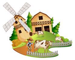Landwirt und Kühe auf dem Hof