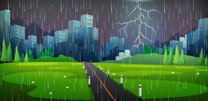 City scen på åskväder natt
