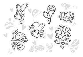 Monoline Alla hjärtans dag Hand Dragna element vektor