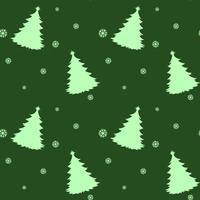 En sömlös grön mall för jul med tallar vektor