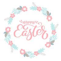 "Rosa ""Glad påsk"" Handritad kalligrafi & krans med blommor"
