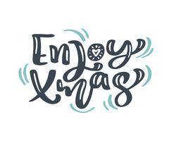 Genießen Sie Weihnachtsweihnachtsweinlesekalligraphie, die Vektortext mit skandinavischem Flourishdekor des Winters zeichnet. Für Kunstdesign, Mockup-Broschürenstil, Bannerideenabdeckung, Broschürendruck-Flyer, Poster vektor
