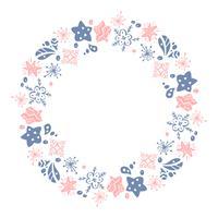 Jul Hand Drawn krans rosa och blå Floral Winter Design Elements isolerad på vit bakgrund för retro design blomstra. Vektor kalligrafi och bokstäver illustration