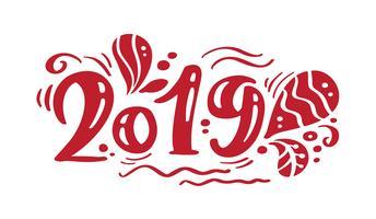 Kalligraphiebeschriftungsvektor-Weihnachtstext mit 2019 roter Weinlese. Für Kunstvorlagenentwurfslistenseite, Modellbroschürenart, Fahnenideenabdeckung, Broschürendruckflieger, Plakat
