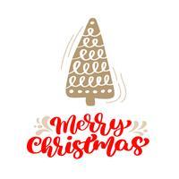 Hand gezeichneter skandinavischer Illustrationstannenbaum. Kalligraphievektorbeschriftungstext der frohen Weihnachten. Weihnachtsgrußkarte. Isolierte Objekte