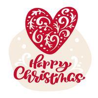 Hand gezeichnetes skandinavisches Illustrationsherz. Happy Christmas Kalligraphie Vektor Schriftzug Text. Weihnachtsgrußkarte. Isolierte Objekte