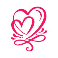 Två älskare kalligrafiska hjärtan vektor