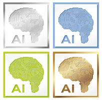 Sats med fyra konstgjorda intelligenskonceptillustrationer.