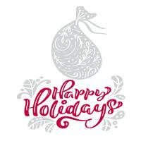 Lycklig helgdag kalligrafi jul bokstäver text. Xmas skandinavisk gratulationskort med handritad vektorillustrationspåse med presenter. Isolerade föremål vektor
