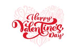 """Kalligraphiephrase """"glücklicher Valentinstag"""" mit Herz hinter vektor"""