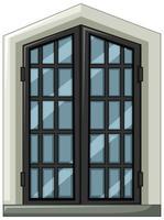 Glasfenster mit grauem Rahmen