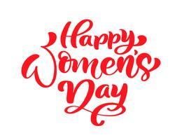 Rosa Kalligraphiephrase glücklicher Frauentag. Vektor handgezeichnete Schriftzug. Getrennte Frauenabbildung. Für Feiertagsskizzengekritzel Entwurfskarte