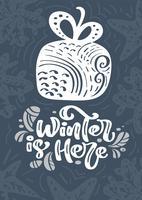 Winter ist hier Kalligraphie-Beschriftungstext. Übergeben Sie gezogene Vektorillustration eines Winter giftbox mit Florenelementen. Weihnachtsskandinavisches Grußkartengeschenk