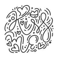 Vektor monoline kalligrafi fras Kiss me. Valentinsdag Hand Dragit bokstäver. Heart Holiday sketch doodle Design valentinkort. kärleksdekoration för webben, bröllop och tryck. Isolerad illustration