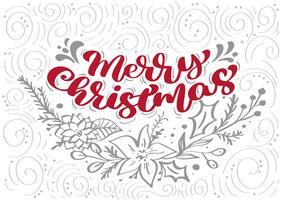 Rote frohe Weihnacht-Kalligraphie Beschriftungsvektortext mit Winterweihnachtselementen in der skandinavischen Art. Kreative Typografie für Weihnachtskarte Poster