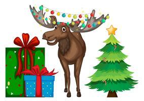 Jultema med ren och träd vektor