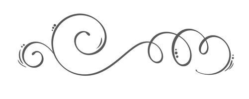 Vektor handdragen kalligrafiska vårblommiga designelement. Blomstrande ljusstil inredning för webb, bröllop och tryck. Isolerad på vit bakgrund Kalligrafi och bokstäver illustration