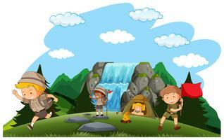 Camping barn camping i naturen vektor