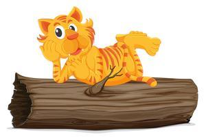 Tiger på en logg vektor