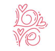 Vektor-monoline Kalligraphietext Liebe. Vintage Valentines Day Hand gezeichnete Beschriftung. Herz-Feiertagsskizzengekritzel Design-Valentinsgrußkarte. Liebesdekor für Web, Hochzeit und Print. Isolierte darstellung vektor