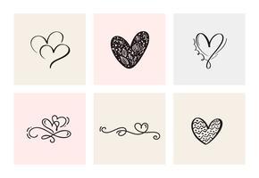 Satz von sechs Weinlese Vector Valentines Day Hand Drawn Calligraphic Heart. Kalligraphie Schriftzug Abbildung. Urlaub Design Valentinstag. Ikonenliebesdekor für Netz, Hochzeit und Druck. Isoliert