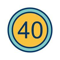 Vektor-Geschwindigkeitsbegrenzung 40 Ikone vektor