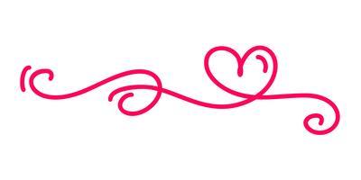 monoline röd vintage vektor valentines dag hand drawn kalligrafiska två hjärtor. Kalligrafi bokstäver illustration. Holiday Design element valentin. Ikon kärleksdekor för webb, bröllop och tryck. Isolerat