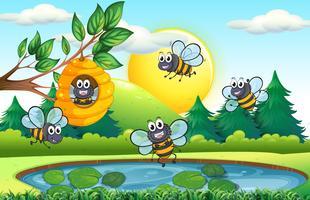 Naturszene mit Bienen und Bienenstock vektor