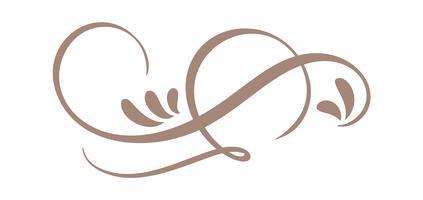 Handdragen Calligraphic Floral Spring Spring Flourish Design Element i stil isolerad på vit bakgrund. Vektor kalligrafi och bokstäver illustration