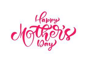 Tintenkalligraphie-Beschriftungstext des glücklichen Muttertags handgeschriebener vektor