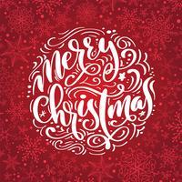 Frohe Weihnacht-Kalligraphievektortext. Briefgestaltung auf rotem Hintergrund. Kreative Typografie für Holiday Greeting Gift Poster. Schriftstil Banner