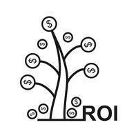 Returnera på investeringar SEO Line Icon