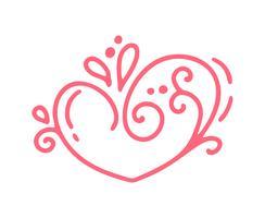 Monoline Röd Vector Alla hjärtans dag Handdragen Calligraphic Vintage Heart. Holiday Design element valentin. Ikon kärleksdekor för webb, bröllop och tryck. Isolerad kalligrafi illustration