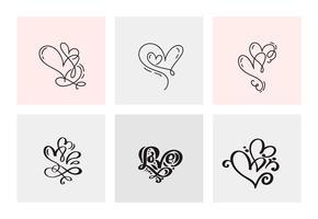 Set med sex vintage vektor Alla hjärtans dag handdragen kalligrafiska hjärtor. Kalligrafi bokstäver illustration. Holiday Design valentin. Ikon kärleksdekor för webb, bröllop och tryck. Isolerat
